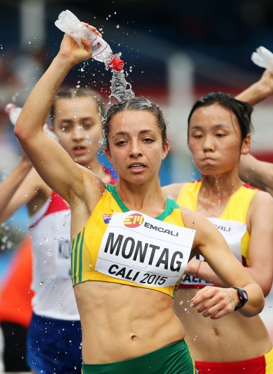 Jemima Montag of Australia in action during the Girls 5000 Meters Race Walk Final on day four of the IAAF World Youth Championships, Cali 2015 on July 18, 2015 at the Pascual Guerrero Olympic Stadium in Cali, Colombia. (Patrick Smith/Getty Images for IAAF)