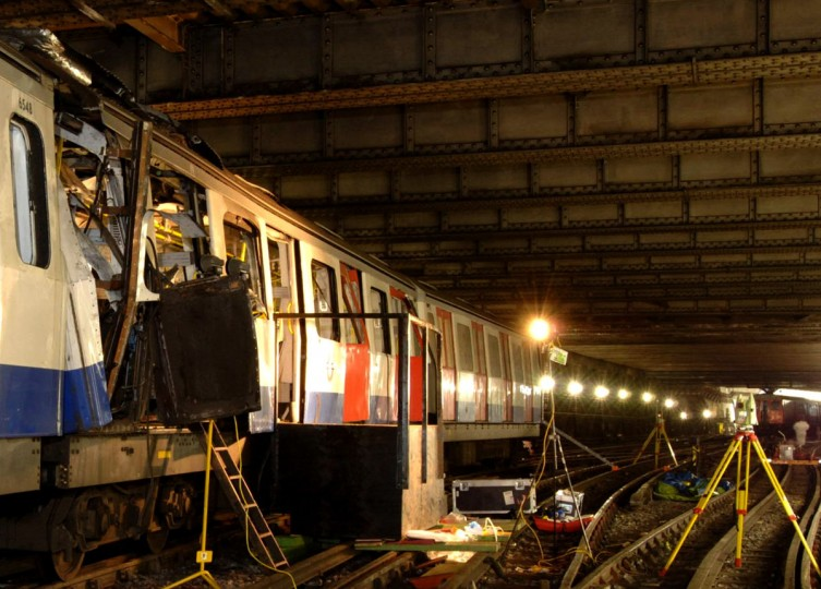 A picture released Saturday July 9, 2005 by the London Metropolitan Police shows the damage to the London Underground train which was involved in the terrorist attack at Aldgate tube station. Police revised the timing of the deadly blasts that tore through the London Underground, saying on Saturday the explosions were detonated just seconds apart. (AP Photo/ Metropolitan Police)