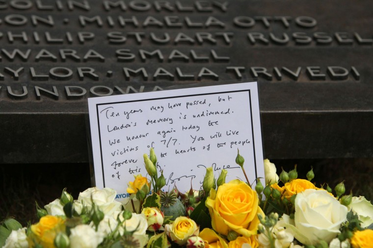 A wreath laid by London Mayor Boris Johnson is left at the July 7 memorial in Hyde Park on July 7, 2015 in London, England. Today is the 10th anniversary of the 7/7 bombings, when four suicide bombers struck transport system in central London, killing 52 people and injuring more than 770 in simultaneous attacks. (Photo by Steve Parson- WPA Pool/Getty Images)