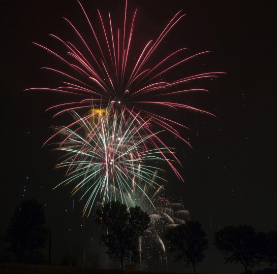 Fireworks in Bel Air. Photo taken with Canon 6D and 12-24mm lens. The f-stop was set at f/16, the ISO at 100 and the focal length 15mm. The exposure time was 10 seconds. (Andy Shrestha/Baltimore Sun submitted photo)