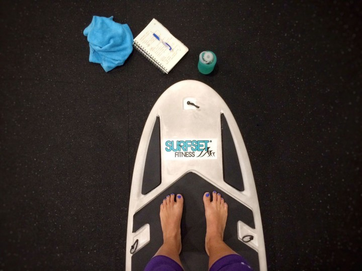 Up before the sun, getting ready to teach my Surfset class at Beachfit -- a dynamic workout on top of a mock surfboard.