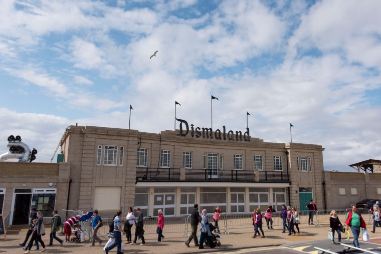 A view of the entrance of Bansky's 'Dismaland' exhibition, which opens tomorrow, at a derelict seafront lido on August 20, 2015 in Weston-Super-Mare, England. The show is Banskys first in the UK since the Banksy v Bristol Museum show in 2009 and will be open for 6 weeks at the Topicana site.  (Matthew Horwood/Getty Images)