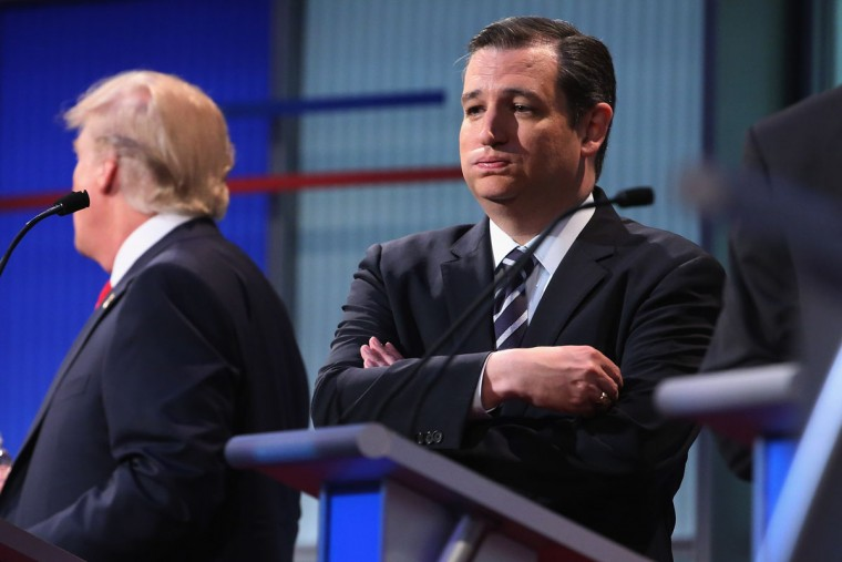 Republican presidential candidate Sen. Ted Cruz (R-TX) exhales during a commercial break in the first prime-time presidential debate hosted by FOX News and Facebook at the Quicken Loans Arena August 6, 2015 in Cleveland, Ohio. The top-ten GOP candidates were selected to participate in the debate based on their rank in an average of the five most recent national political polls. (Photo by Chip Somodevilla/Getty Images)