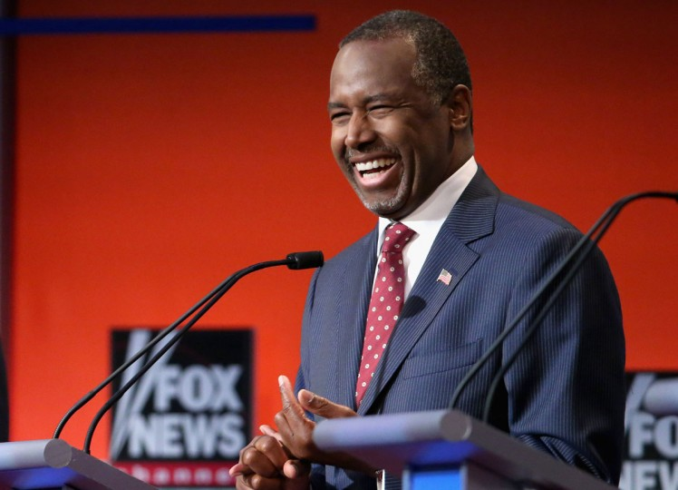 Republican presidential candidate Ben Carson participates in the first prime-time presidential debate hosted by FOX News and Facebook at the Quicken Loans Arena August 6, 2015 in Cleveland, Ohio. The top-ten GOP candidates were selected to participate in the debate based on their rank in an average of the five most recent national political polls. (Photo by Chip Somodevilla/Getty Images)