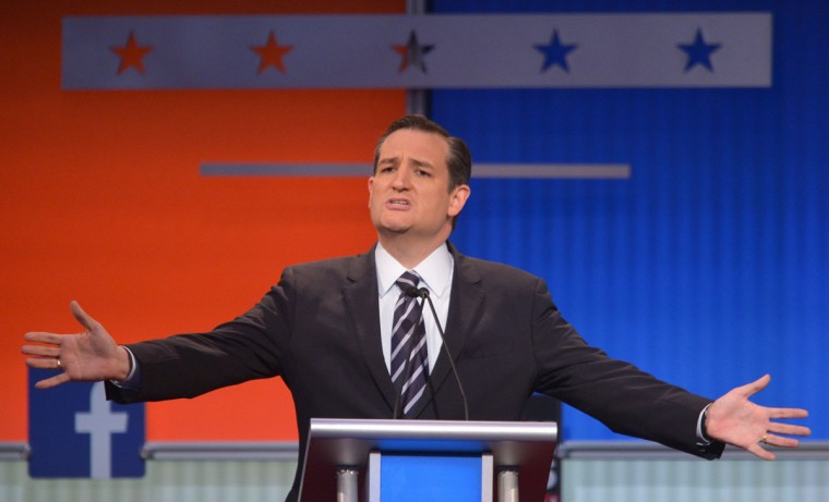 Texas Senator Ted Cruz participates in the Republican presidential primary debate on August 6, 2015 at the Quicken Loans Arena in Cleveland, Ohio. (AFP Photo/Mandel Ngan)
