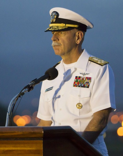 US Navy Admiral Scott Swift addresses the various officials and guest from the City & County of Honolulu, the City of Nagaoka, Japan, Honolulu's sister city, to commemorate 70 Years of Peace on Ford Island located in Joint Base Pearl Harbor-Hickam, on August 14, 2015. The event commemorated the 70th anniversary of the end of World War II in the Pacific. A memorial service including a floral tribute, wreath presentation, speeches, a moment of silence, playing of Echo Taps, and a short three white chrysanthemum fireworks display were featured at the private event. (Eugene Tanner/AFP/Getty Images)