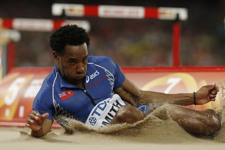 "Bermuda's Tyrone Smith competes in the final of the men's long jump athletics event at the 2015 IAAF World Championships at the ""Bird's Nest"" National Stadium in Beijing on August 25, 2015. (ADRIAN DENNIS/AFP/Getty Images)"