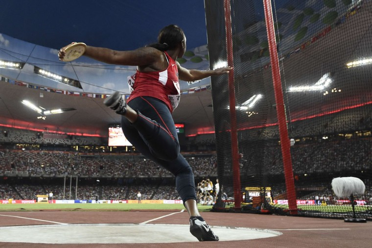 "USA's Whitney Ashley competes in the final of the women's discus throw athletics event at the 2015 IAAF World Championships at the ""Bird's Nest"" National Stadium in Beijing on August 25, 2015.  (FRANCK FIFE/AFP/Getty Images)"