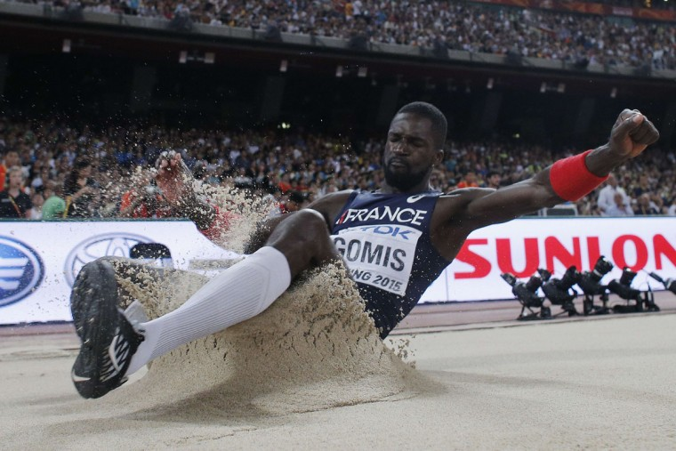 "France's Kafetien Gomis competes in the final of the men's long jump athletics event at the 2015 IAAF World Championships at the ""Bird's Nest"" National Stadium in Beijing on August 25, 2015. (ADRIAN DENNIS/AFP/Getty Images)"
