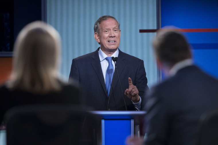 Republican presidential candidate and former New York Gov. George Pataki participates a pre-debate forum at the Quicken Loans Arena, Thursday, Aug. 6, 2015, in Cleveland. Seven of the candidates have not qualified for the primetime debate. (AP Photo/John Minchillo)