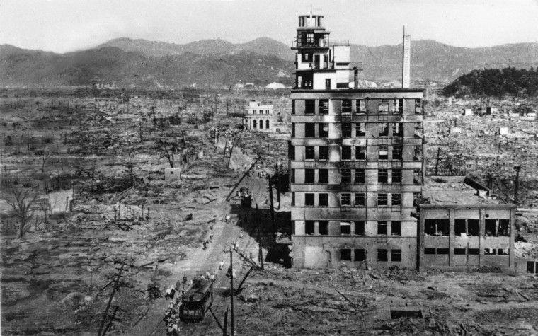 FILE - In this Aug. 8, 1945 file photo, the shell of a building stands amid acres of rubble in this view of the Japanese city of Hiroshima. On Aug. 6, 1945, a U.S. plane dropped an atomic bomb on Hiroshima, the first nuclear weapon has been used in war. Japan surrendered on Aug. 15, ending World War II. (AP Photo/Mitsugi Kishida, File)
