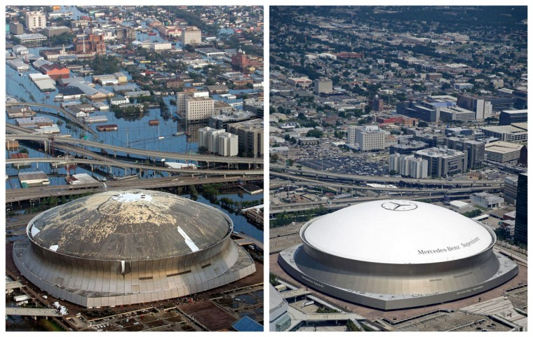 This combination of Aug. 30, 2005 and July 29, 2015 aerial photos shows downtown New Orleans and the Superdome flooded by Hurricane Katrina and the same area a decade later. Katrina's powerful winds and driving rain bore down on Louisiana on Aug. 29, 2005. The storm caused major damage to the Gulf Coast from Texas to central Florida while powering a storm surge that breached the system of levees that were built to protect New Orleans from flooding. (AP Photo/David J. Phillip, Gerald Herbert)