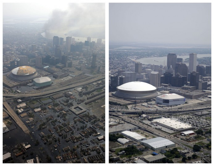 This combination of Sept. 3, 2005 and July 29, 2015 aerial photos show downtown New Orleans flooded by Hurricane Katrina, and the same area a decade later. The storm went down in history as the costliest natural disaster to strike the U.S., with $150 billion in damages to homes and other property. It was also one of the deadliest. (AP Photo/David J. Phillip, Gerald Herbert)