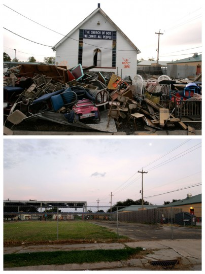 This combination of Dec. 16, 2005 and July 28, 2015 photos shows debris in front of the Church of God damaged by Hurricane Katrina in the Lower Ninth Ward neighborhood of New Orleans, and a decade later, an empty lot where it once stood. Before Katrina, the Lower Ninth Ward was a working-class and predominantly African-American neighborhood just outside the city's historic center. (AP Photo/Jacqueline Larma, Gerald Herbert)