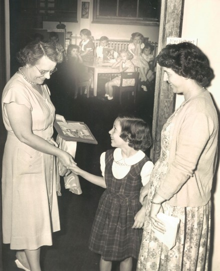 Mary Ann Pilo, age 6, with her mother, Mrs. Mary Pilo, meet Mrs Thelma Holberk, who will teach Mary Ann 1st grade. (Albert Cochran/Baltimore Sun, 1951)