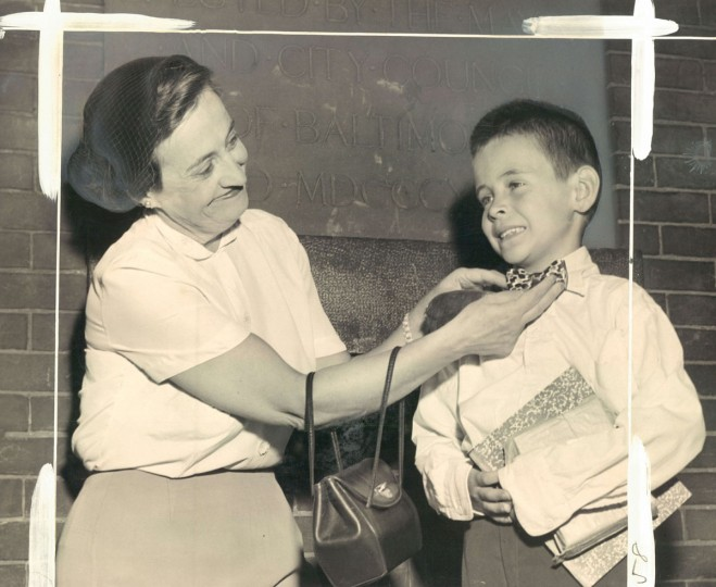 A mother fixes her son's tie on the first day of school. (Klender/Baltimore Sun, 1952)