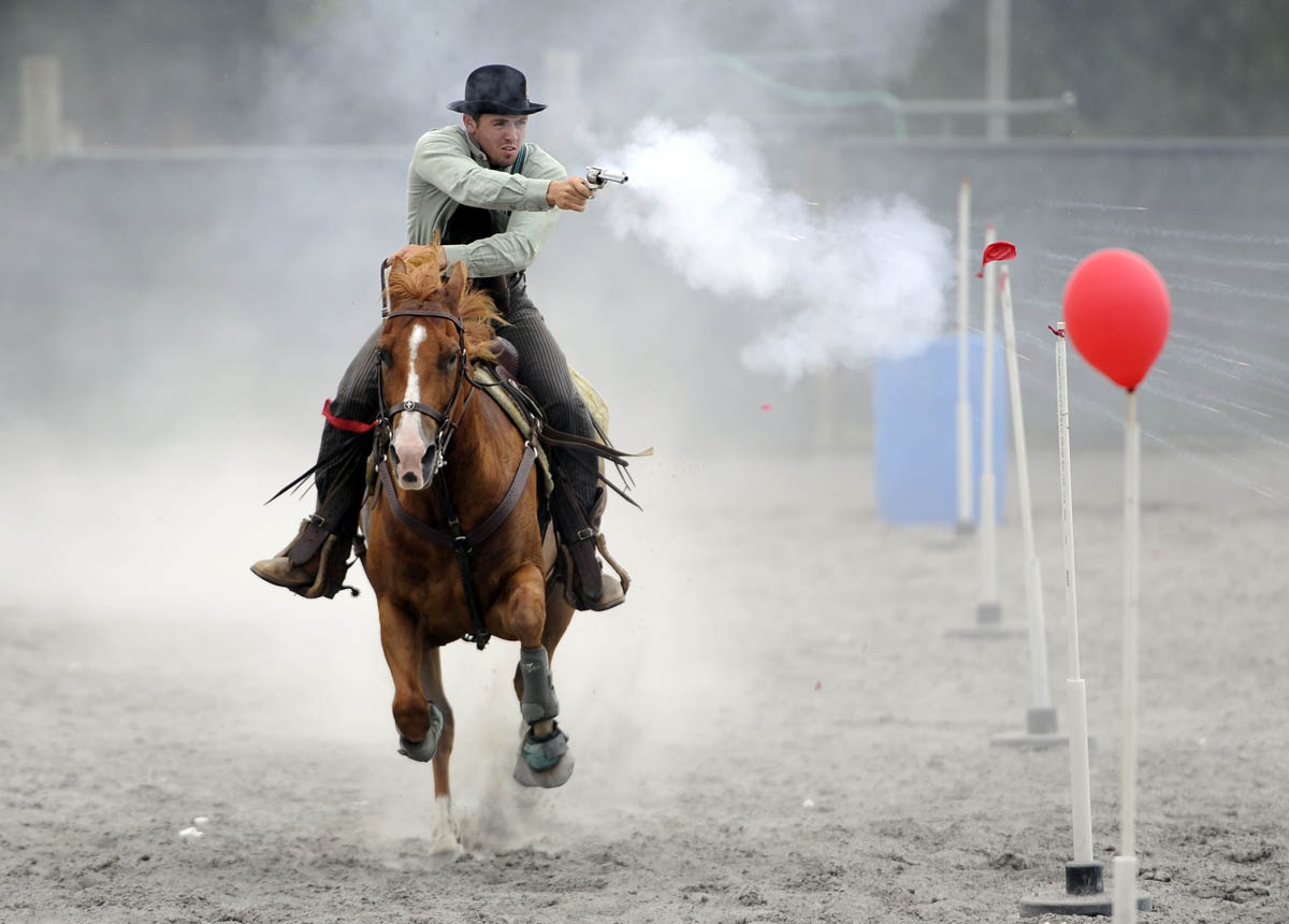 Cowboy mounted shooting competition
