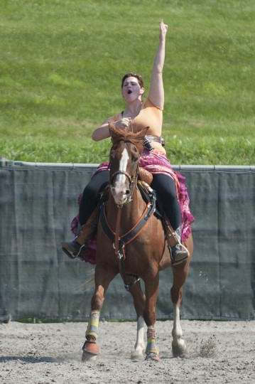 Samantha Davis celebrates after finishing a round during a stage during a competition at Willowbrook Farms. (Tom Brenner, Baltimore Sun)