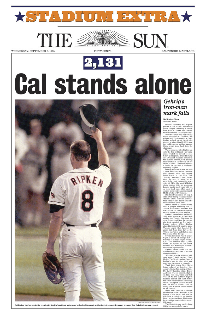 25 notable Cal Ripken Jr. front pages