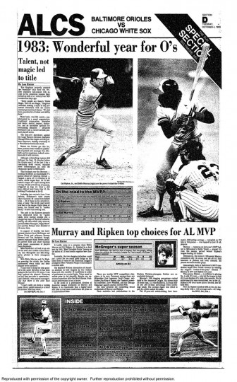 Eddie Murray and Cal Ripken Jr. are top choices for American League MVP.