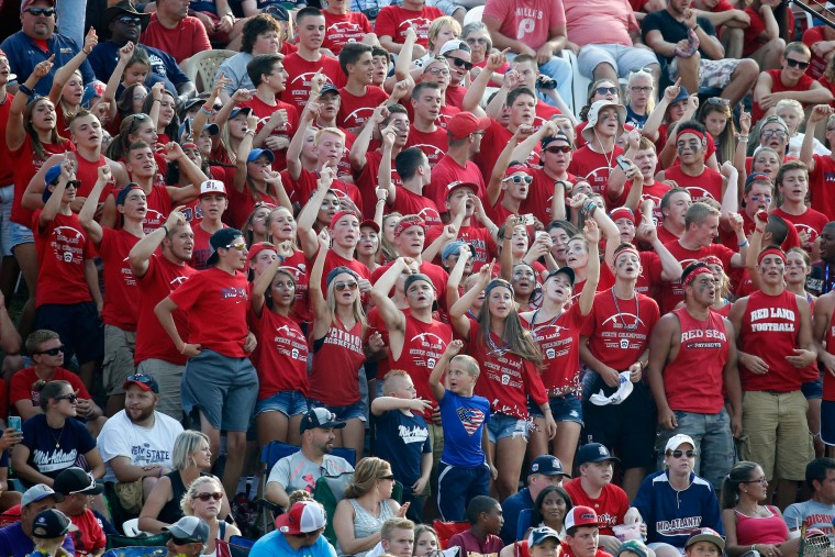 Fans of the Mid-Atlantic team from Red Land Little League of Lewisberry, Pennsylvania cheer during the fifth inning against the Southwest team from Pearland West Little League of Pearland, Texas during the fourth inning of the United States Championship game of the Little League World Series at Lamade Stadium on August 29, 2015 in South Willamsport, Pennsylvania. (Rob Carr/Getty Images)