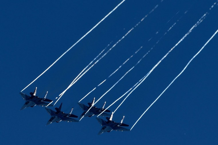 Russian aerobatic group Strizhi (Swifts) performs on MIG-29 jet fighters on rehearsal day for the MAKS-2015, the International Aviation and Space Show, in Zhukovsky, outside Moscow, on August 21, 2015. The MAKS-2015 will be held in Zhukovsky from August 25 to 30. (KIRILL KUDRYAVTSEV/AFP/Getty Images)