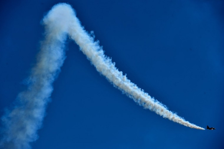 A Russian Yakovlev Yak-130 Mitten subsonic two-seat advanced jet trainer performs on rehearsal day for the MAKS-2015, the International Aviation and Space Show, in Zhukovsky, outside Moscow, on August 21, 2015. The MAKS-2015 will be held in Zhukovsky from August 25 to 30. (KIRILL KUDRYAVTSEV/AFP/Getty Images)