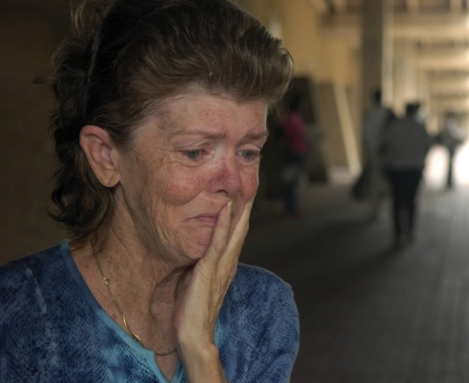 August 28, 2005 -  Myra Smith, from the town of Marrero, LA, breaks down as she talks about her home which is prone to flooding. She was waiting to get into the Superdome, which was used as a shelter against the approaching Hurricane Katrina. (John Makely/Baltimore Sun)