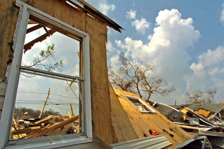 September 5, 2005 - In Plaquemines Parisha a window and one corner of a resident's home is all that remains standing one week after Hurricane Katrine tore apart several gulf states. (Karl Merton Ferron/Baltimore Sun)