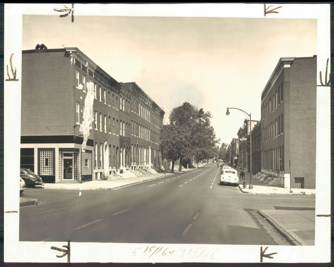 A view of McCulloh Street in Reservoir Hill on Aug. 28, 1949. (Baltimore Sun photo by Hans Marx)