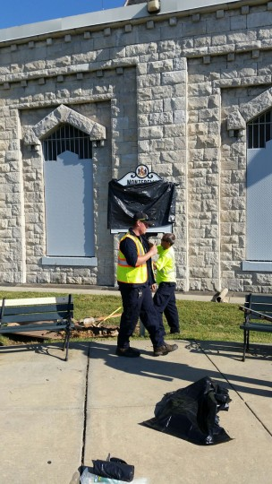 This state historical marker at Lake Montebello will be unveiled Sept. 19, 2015. (Photo courtesy of the Baltimore Department of Public Works)
