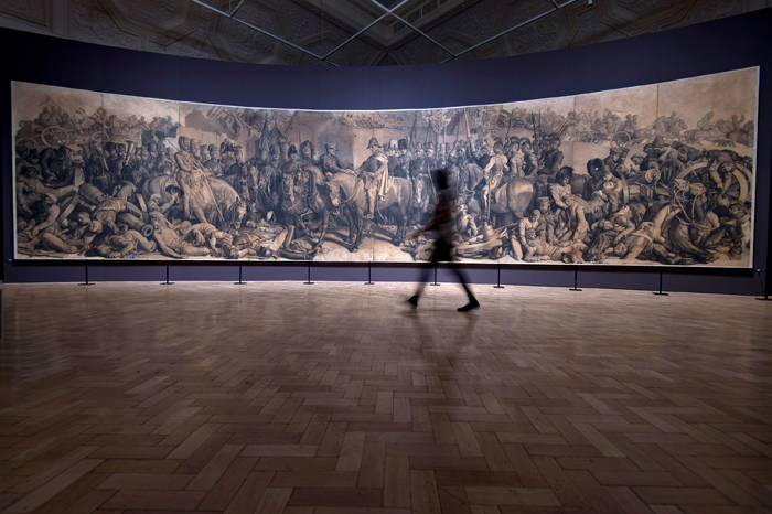 "The newly conserved drawing ""The Waterloo Cartoon"" by Daniel Maclise went on display at the Royal Academy of Arts for the first time in over 40 years on Tuesday in London, England. The drawing, which took a year to complete in 1858, was originally a preparatory drawing for a wall painting entitled ""The Meeting of Wellington and Blücher after the Battle of Waterloo,"" which still exists inside the House of Lords. The illustration underwent extensive conservation before being put on display to mark the 200th anniversary of the Battle of Waterloo. (Ben A. Pruchnie/Getty Images)"
