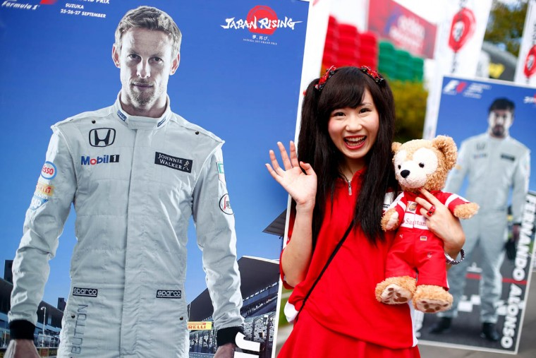 A fan poses outside the circuit before final practice for the Formula One Grand Prix of Japan at Suzuka Circuit on September 26, 2015 in Suzuka. (Clive Rose/Getty Images)