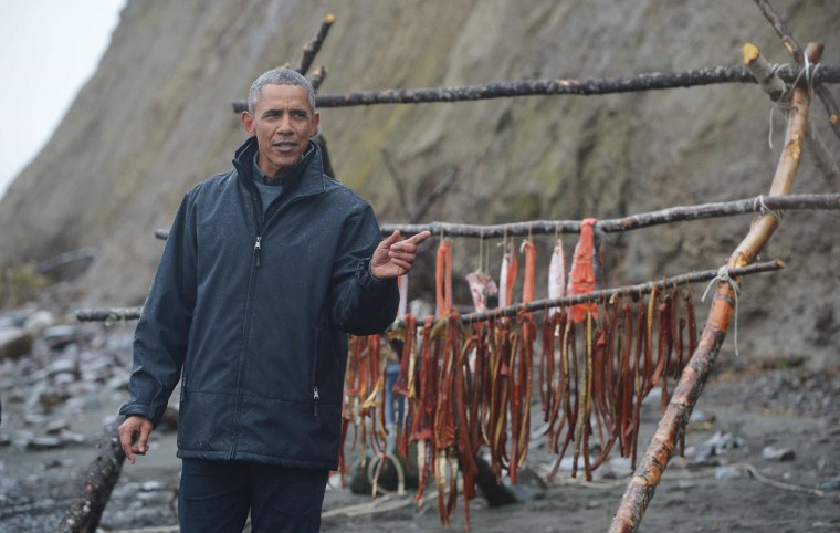 US President Barack Obama speaks after meeting with local fishermen and their families on Kanakanak Beach in Dillingham, Alaska, on September 2, 2015. (Mandel Ngan/AFP/Getty Images)