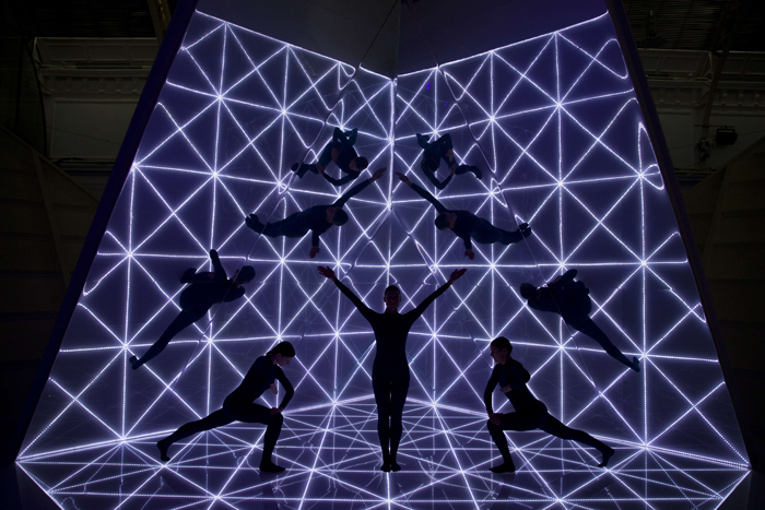 Dancers perform following the Anya Hindmarch 2016 Spring / Summer collection show at London Fashion Week in London on Tuesday. (JUSTIN TALLIS/AFP/Getty Images)