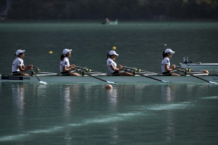 From left, Argentina's Sofia Conte, Milka Kraljev, Karina Wilvers and Maria Clara Rohner celebrate after winning the B final in the women's lightweight quadruple sculls during the World rowing championships in Aiguebelette, French Alps, Friday, Sept. 4, 2015.  || CREDIT: LAURENT CIPRIANI - AP PHOTO