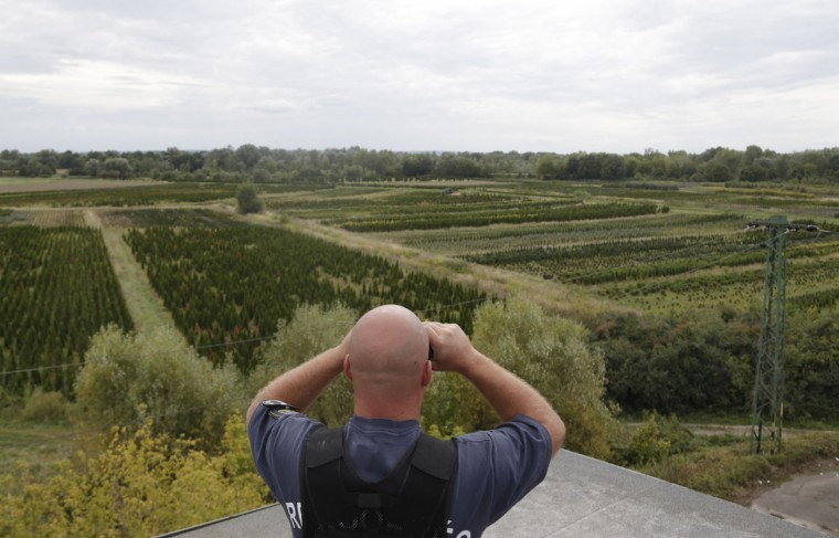 A Hungarian police officer looks for migrants crossing the border from Croatia in the village of Zakany, Hungary, Sunday, Sept. 20, 2015. Croatia said it was overwhelmed by the influx of thousands of people in just a few days and would be sending them to Slovenia and Hungary. (AP Photo/Petr David Josek)