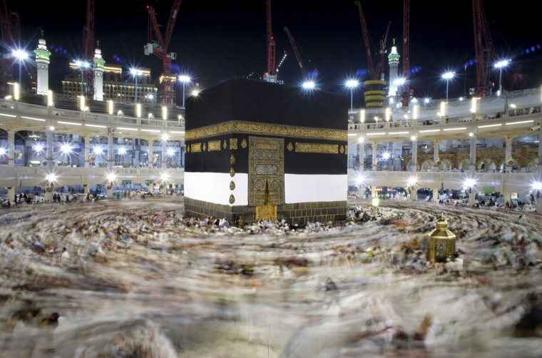 In this Wednesday, Sept. 9, 2015 photo, Muslim pilgrims circumambulate around the Kaaba, the cubic building at the Grand Mosque in the Muslim holy city of Mecca, Saudi Arabia. Thousands of Muslims from all over the world have arrived in Saudi Arabia for the annual hajj, or pilgrimage, to Mecca. Every Muslim is required to perform the hajj, or pilgrimage, to Mecca at least once in his or her lifetime if able to do so. (AP Photo/Amr Nabil)