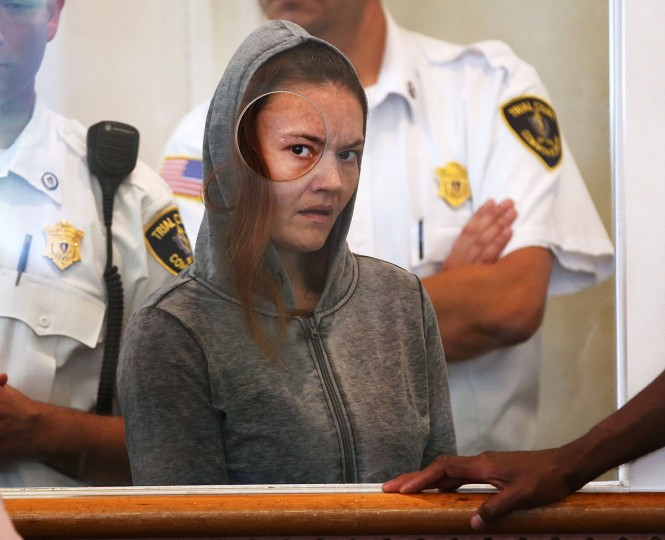 Rachelle Dee Bond is arraigned on charges of acting after the fact in helping to dispose of the body of her daughter, the girl dubbed Baby Doe, in Dorchester District Court, on Monday, Sept. 21, 2015, in Boston. The judge ordered Bond held on $1 million cash bail and Bond's boyfriend, Michael McCarthy, held without bail on murder charges. (Pat Greenhouse/The Boston Globe via AP, Pool)