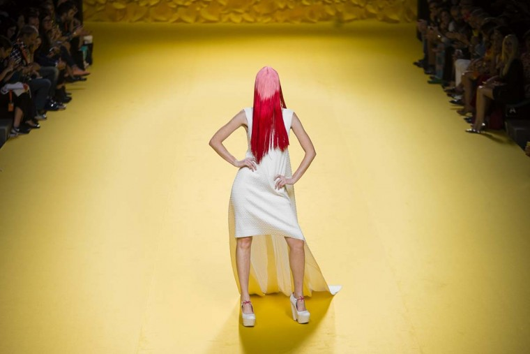 A model displays a 2016 Spring/Summer design by Agatha Ruiz De La Prada at the Madrid's Fashion Week in Madrid, Spain, Friday, Sept. 18, 2015.  || CREDIT: DANIEL OCHOA DE OLZA - AP PHOTO