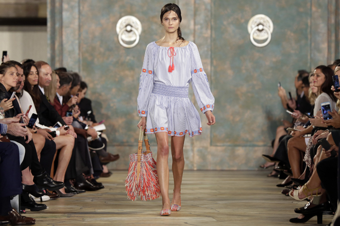 The Tory Burch Spring 2016 collection is modeled during Fashion Week in New York on Tuesday. (Richard Drew/AP)