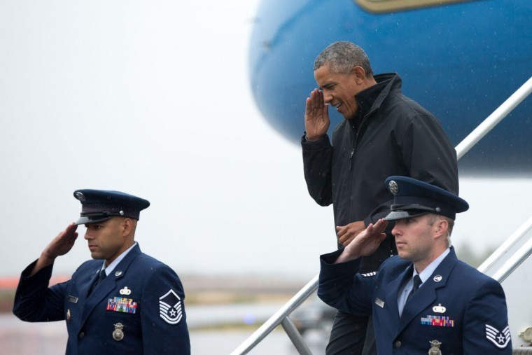 President Barack Obama arrives at Dillingham Airport, Wednesday, Sept. 2, 2015, in Dillingham, Alaska. Obama is on a historic three-day trip to Alaska aimed at showing solidarity with a state often overlooked by Washington, while using its glorious but changing landscape as an urgent call to action on climate change. (AP Photo/Andrew Harnik)