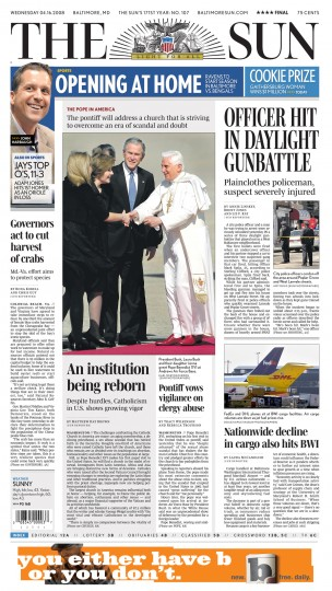 Baltimore Sun front page, April 16, 2008.