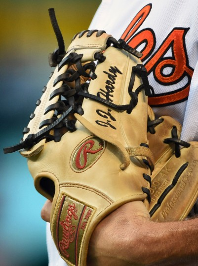 Orioles shortstop J.J. Hardy warms up by playing catch with his Rawlings Gold labelled glove. Close-up details shot during Orioles games at Oriole Park at Camden Yards. (Kenneth K. Lam/Baltimore Sun)
