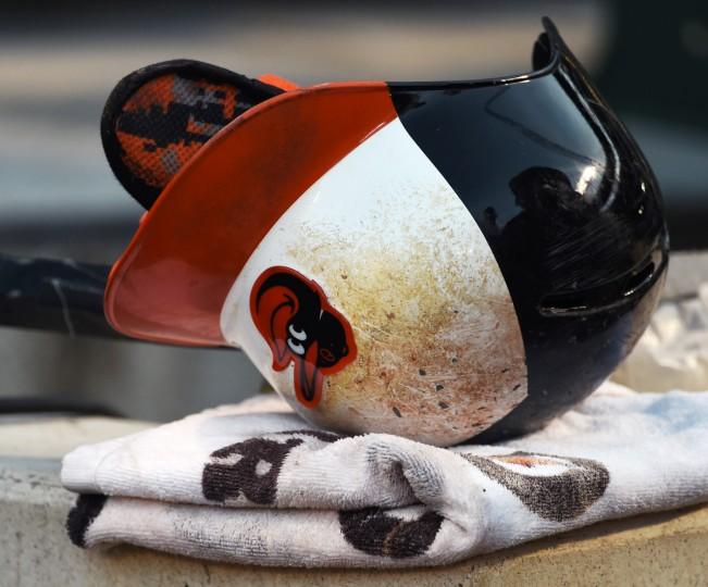 Orioles center-fielder Adam Jones' batting helmet.  (Kenneth K. Lam/Baltimore Sun)