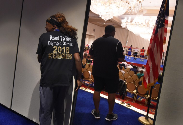 Franchon Crews waits for her match during the quarter final bouts at the Women's Olympic Trials Qualifier II held at the Baltimore Harbor Hotel.    (Lloyd Fox/Baltimore Sun)