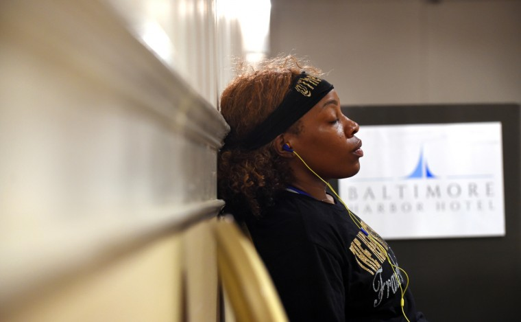 Franchon Crews listens to music as she tries to relax before her quarter final bout at the Women's Olympic Trials Qualifier II held at the Baltimore Harbor Hotel.  (Lloyd Fox/Baltimore Sun)