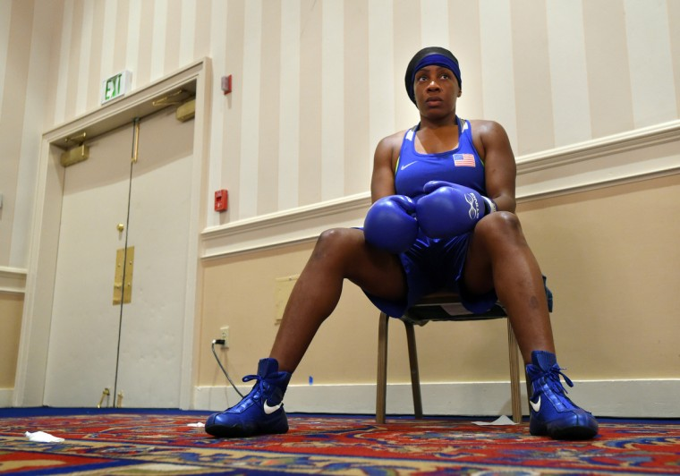 Franchon Crews awaits her bout with Schmelle Baldwin of Wilmington,DE.  in the quarter finals of the Olympic Trials Qualifier II.    (Lloyd Fox/Baltimore Sun)