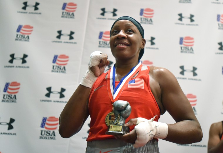 Franchon Crews wins the gold medal for the 165 lbs weight class and earns a trip to Memphis to compete for the women's U.S. Olympic boxing team after she defeated Lesha Kenney in the gold medal round. (Lloyd Fox/Baltimore Sun)