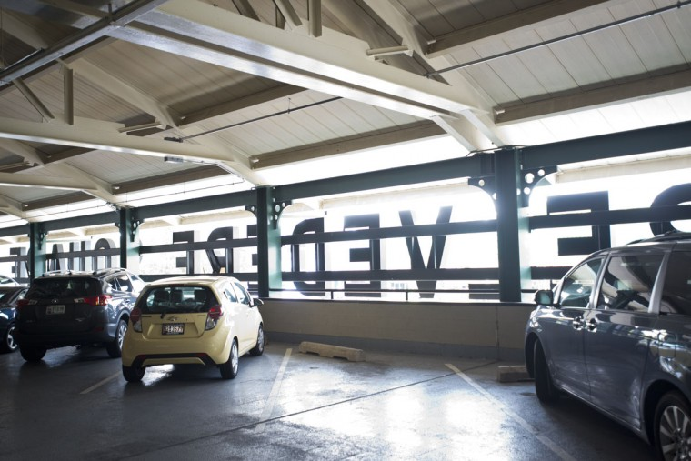 The parking garage on top of Belvedere Square Market. (Emma Patti Harris/Baltimore Sun)